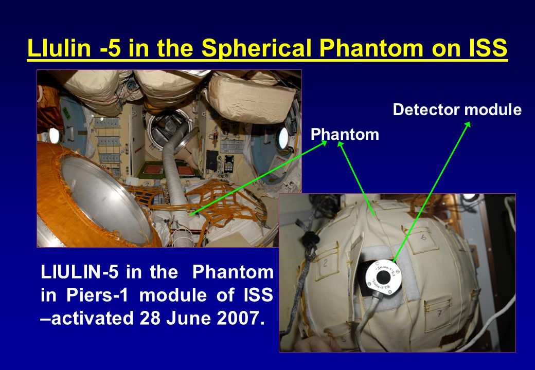 LIULIN-5 in the Phantom in Piers-1 module of ISS –activated 28 June 2007.
