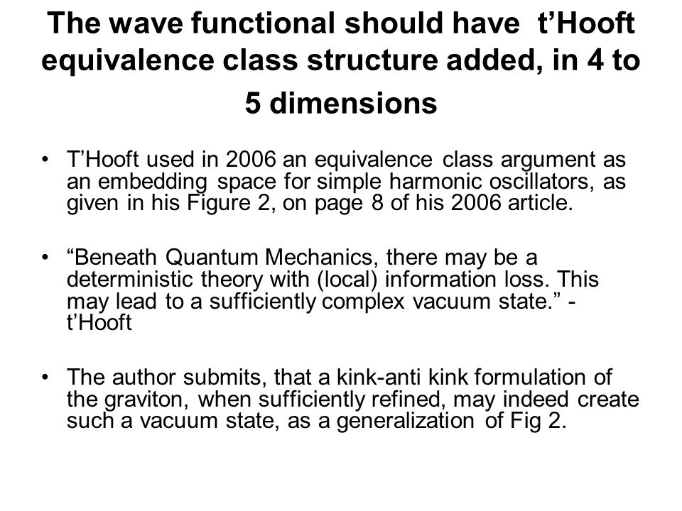 The wave functional should have t'Hooft equivalence class structure added, in 4 to 5 dimensions T'Hooft used in 2006 an equivalence class argument as an embedding space for simple harmonic oscillators, as given in his Figure 2, on page 8 of his 2006 article.
