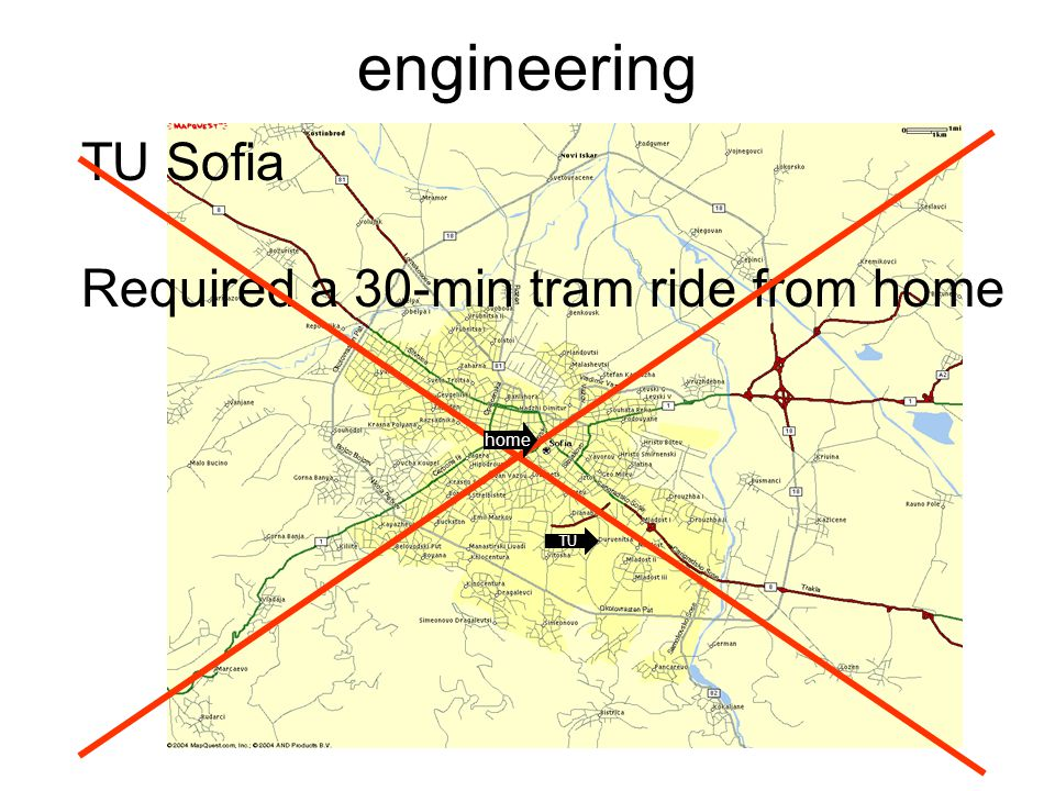 engineering TU Sofia Required a 30-min tram ride from home home TU