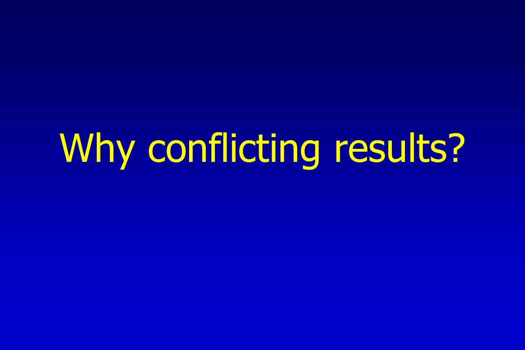 Why conflicting results?