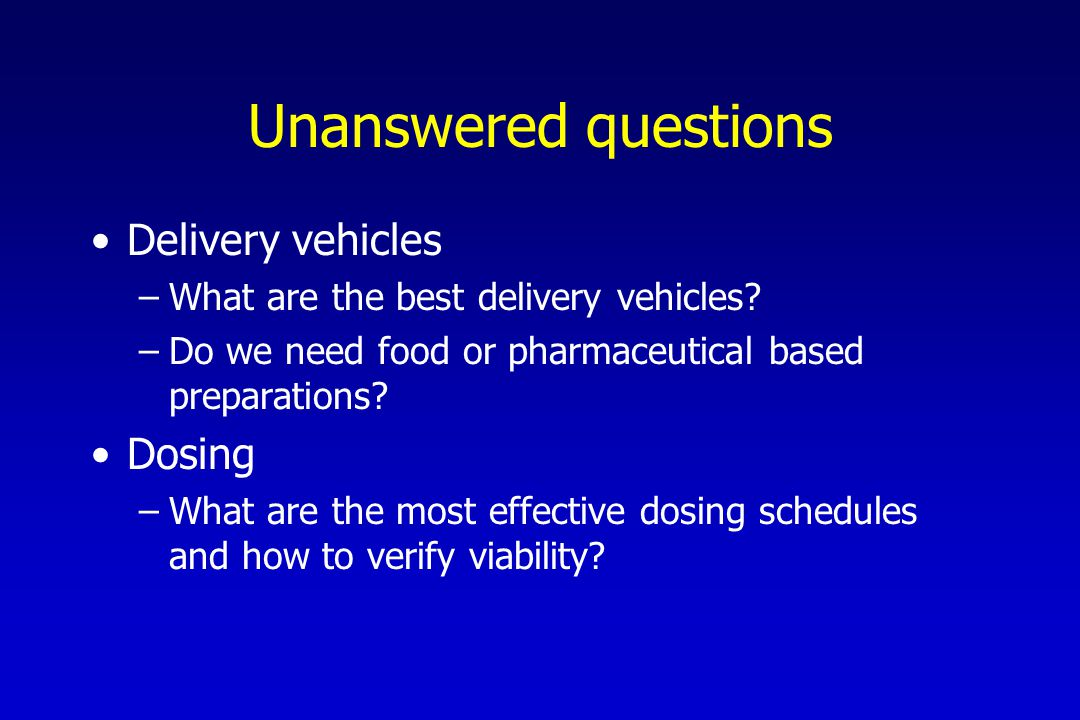 Unanswered questions Delivery vehicles –What are the best delivery vehicles.