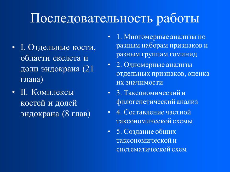 Последовательность работы I.Отдельные кости, области скелета и доли эндокрана (21 глава) II.