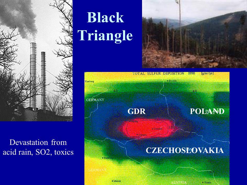 Black Triangle GDR CZECHOSLOVAKIA POLAND Devastation from acid rain, SO2, toxics