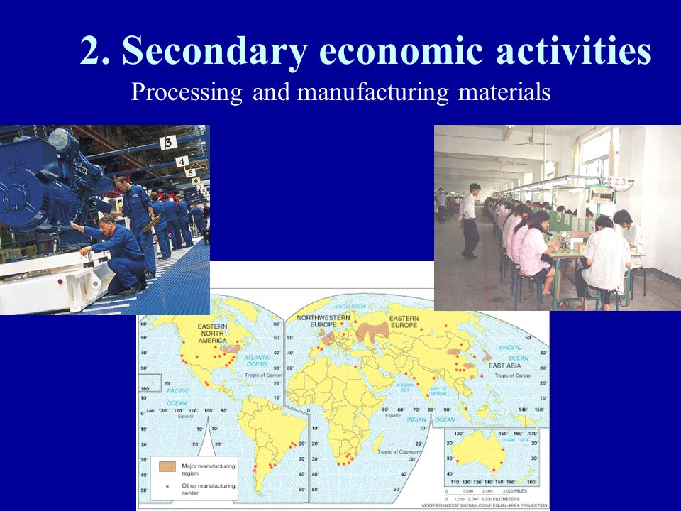 2. Secondary economic activities Processing and manufacturing materials