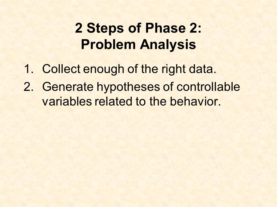 Phase 2: Problem Analysis What may be contributing to the behavior