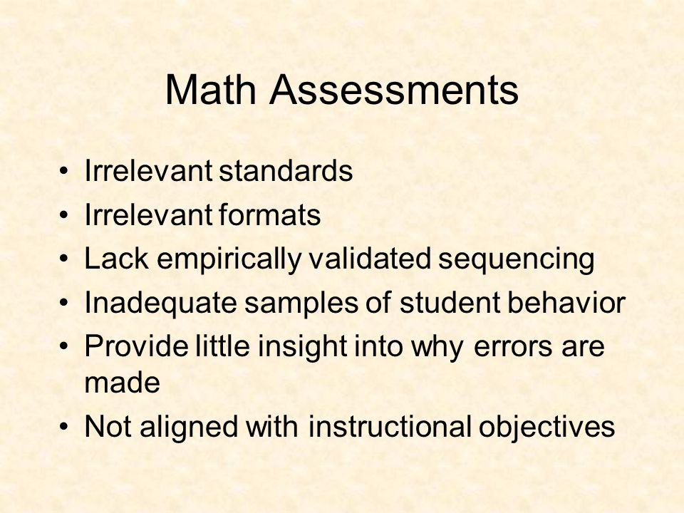Mathematics Areas Computation: Accurately and quickly responding with symbols of quantity Concepts: Rules Strategies: Need to be efficient Facts: Numerical statements Application: Using math –Sub-domains: Tool use, content knowledge, and Vocabulary Problem-Solving: Using both computation and application.