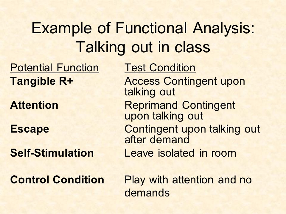Approaches to Functional Assessment Questionnaire: Have others tell you what happens Observational Assessment: Watch and describe A-B-C's Experimental Functional Analysis: Do a test of hypothesis  I usually do a bit of all three of the above