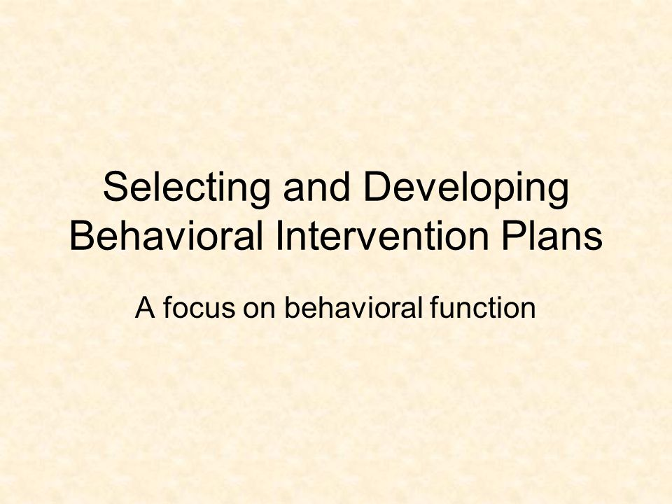 Special Note An experimental functional analysis should be conducted if the FBA does not lend itself to an effective intervention.