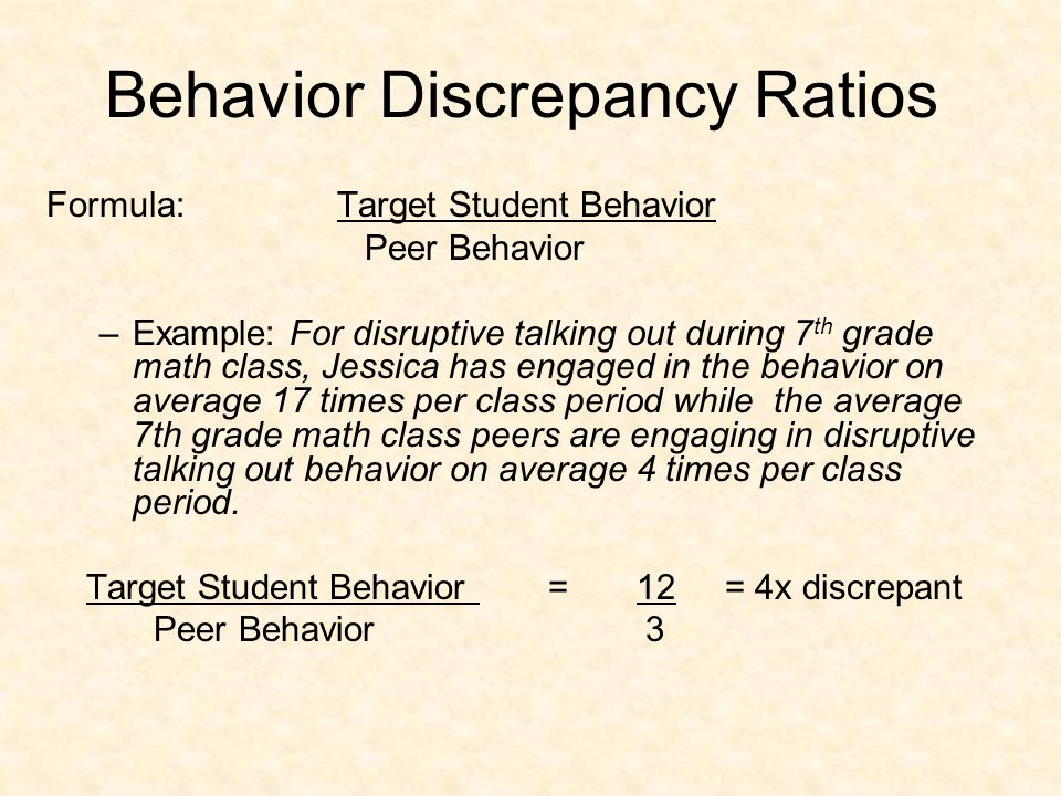 Step 3 of Phase 1: State Discrepancy Calculate the Behavior Discrepancy Ratio (BDR) –Include statement of student's current level of performance.