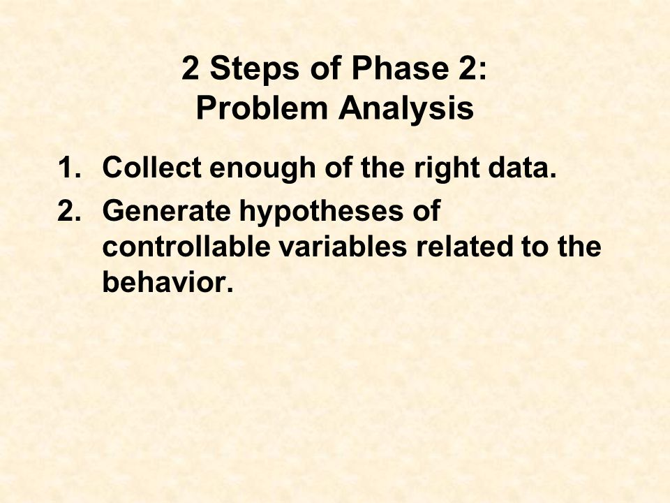 Phase 2: Problem Analysis What may be contributing to the behavior?