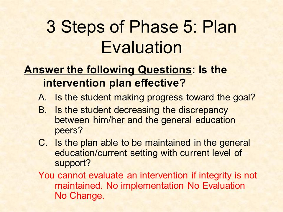 Phase 5: Plan Evaluation