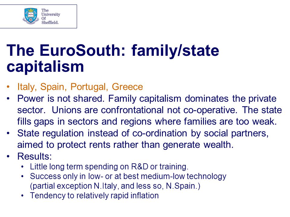 The EuroSouth: family/state capitalism Italy, Spain, Portugal, Greece Power is not shared.
