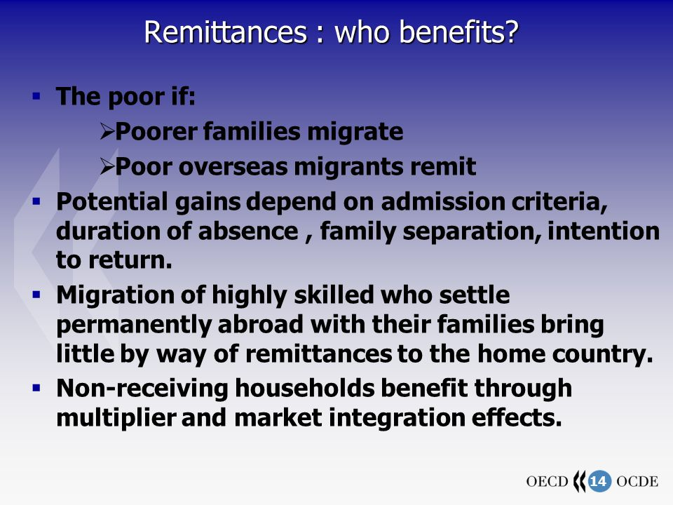 14 Remittances : who benefits.