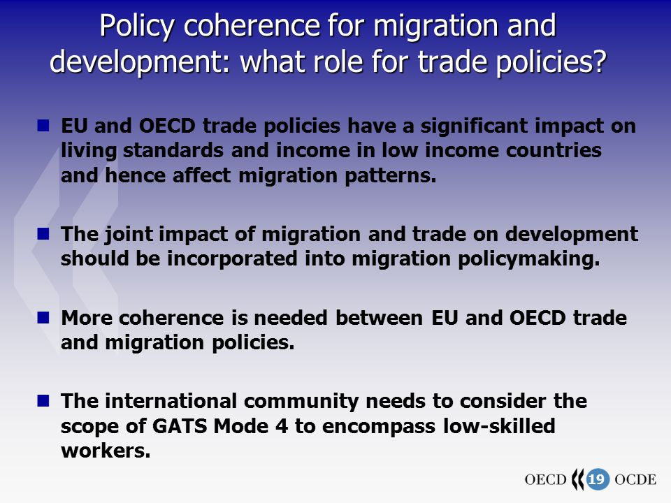 19 Policy coherence for migration and development: what role for trade policies.