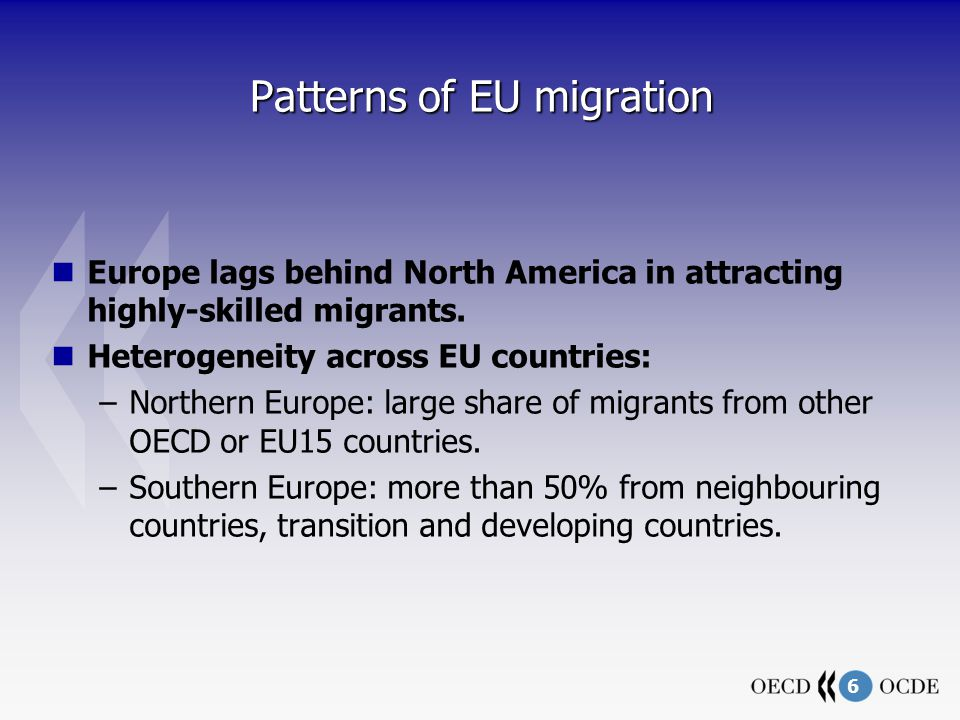 6 Patterns of EU migration Europe lags behind North America in attracting highly-skilled migrants.