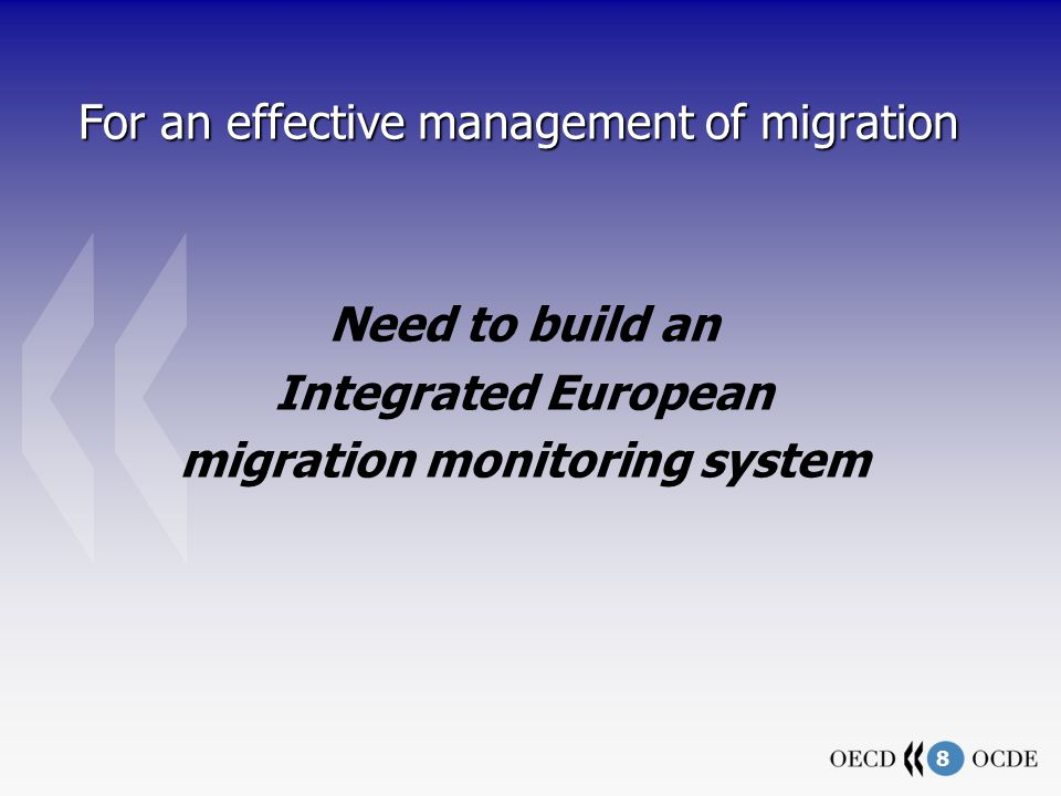8 For an effective management of migration Need to build an Integrated European migration monitoring system