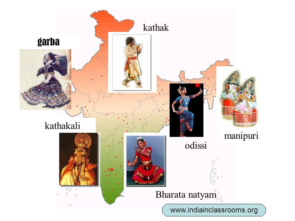 kathak manipuri Bharata natyam kathakali odissi garba www.indiainclassrooms.org