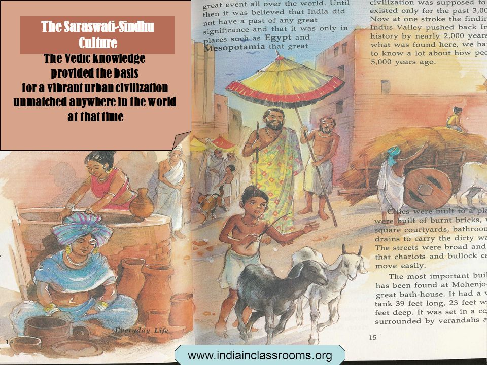 The Vedic knowledge provided the basis for a vibrant urban civilization unmatched anywhere in the world at that time The Saraswati-Sindhu Culture www.indiainclassrooms.org