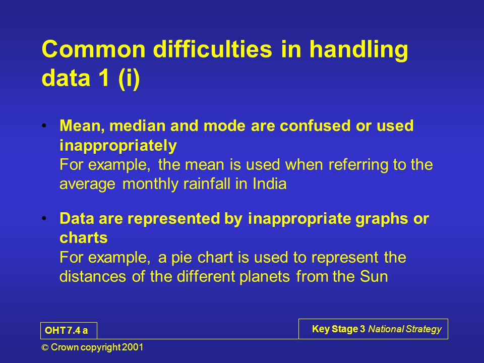 © Crown copyright 2001 Key Stage 3 National Strategy Common difficulties in handling data 1 (i) Mean, median and mode are confused or used inappropriately For example, the mean is used when referring to the average monthly rainfall in India Data are represented by inappropriate graphs or charts For example, a pie chart is used to represent the distances of the different planets from the Sun OHT 7.4 a