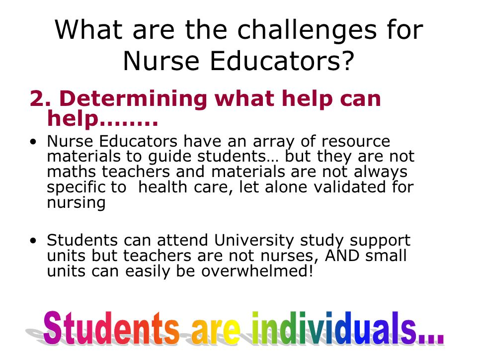 What are the challenges for Nurse Educators. 2. Determining what help can help……..