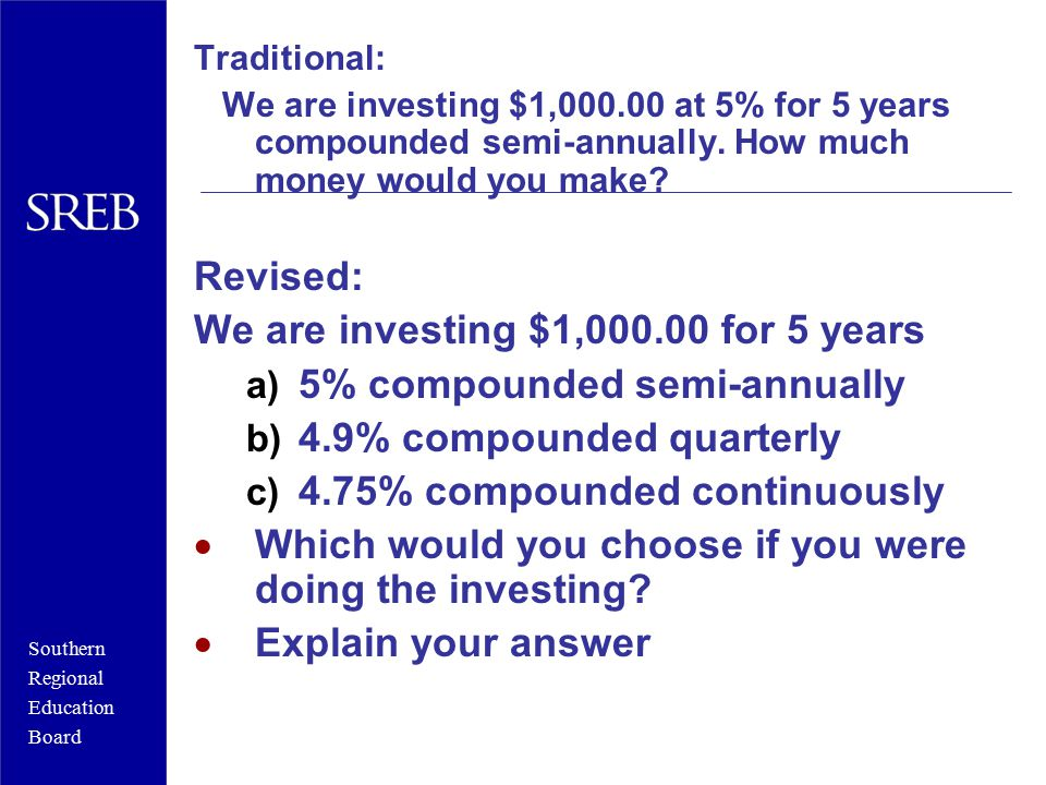 Southern Regional Education Board Traditional: We are investing $1,000.00 at 5% for 5 years compounded semi-annually. How much money would you make? R