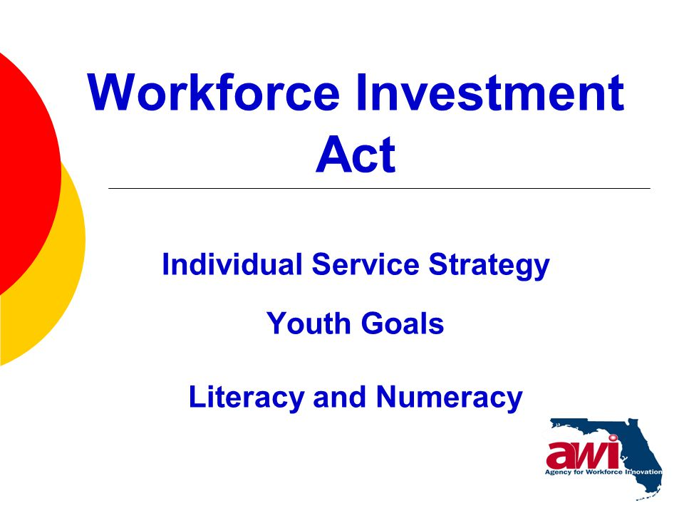 1 Workforce Investment Act Individual Service Strategy Youth Goals Literacy and Numeracy