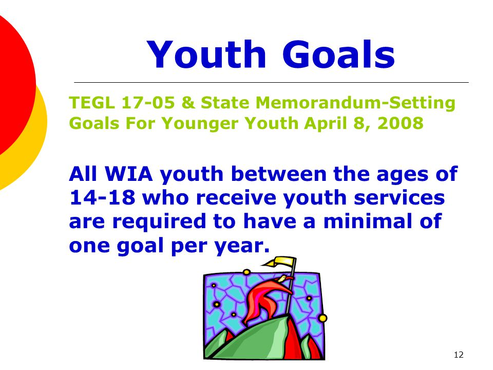 12 Youth Goals TEGL 17-05 & State Memorandum-Setting Goals For Younger Youth April 8, 2008 All WIA youth between the ages of 14-18 who receive youth services are required to have a minimal of one goal per year.