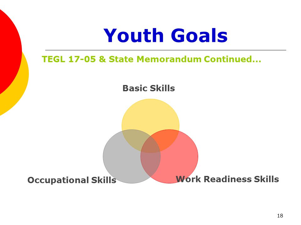 18 Youth Goals Basic Skills Work Readiness Skills Occupational Skills TEGL 17-05 & State Memorandum Continued...