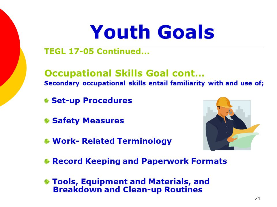 21 Youth Goals TEGL 17-05 Continued...