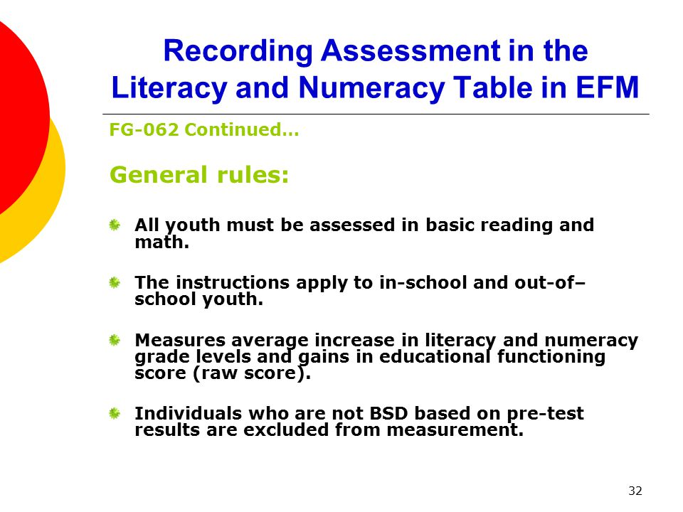 32 Recording Assessment in the Literacy and Numeracy Table in EFM FG-062 Continued… General rules: All youth must be assessed in basic reading and math.