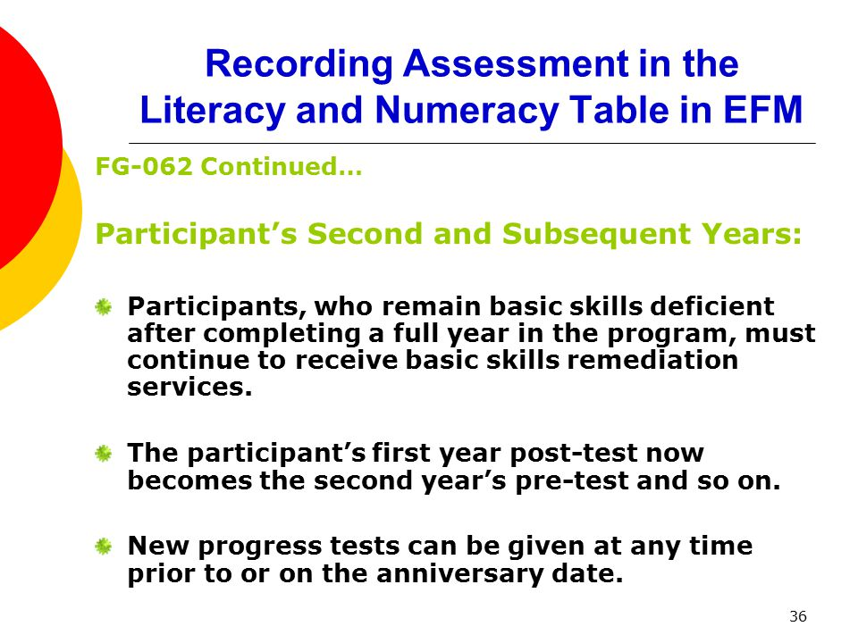 36 Recording Assessment in the Literacy and Numeracy Table in EFM FG-062 Continued… Participant's Second and Subsequent Years: Participants, who remain basic skills deficient after completing a full year in the program, must continue to receive basic skills remediation services.