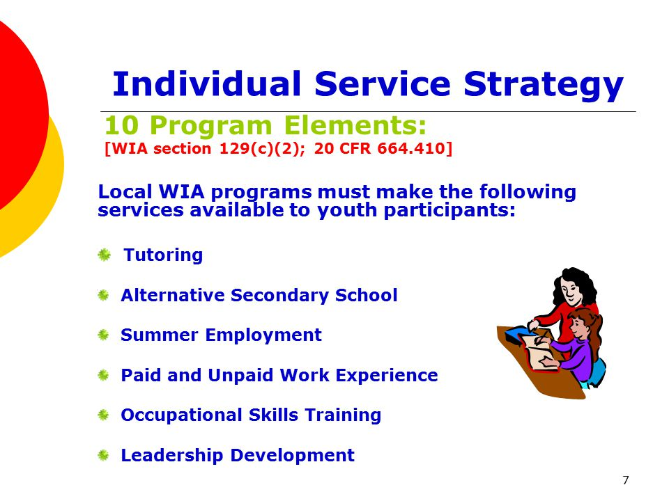 7 Individual Service Strategy 10 Program Elements: [WIA section 129(c)(2); 20 CFR 664.410] Local WIA programs must make the following services available to youth participants: Tutoring Alternative Secondary School Summer Employment Paid and Unpaid Work Experience Occupational Skills Training Leadership Development