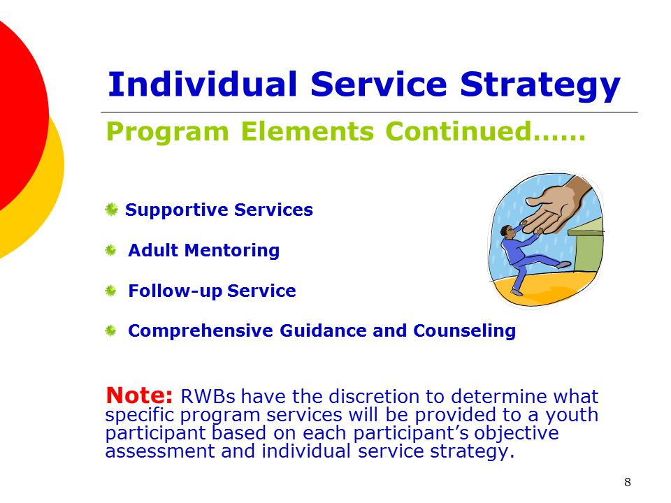 8 Individual Service Strategy Program Elements Continued…… Supportive Services Adult Mentoring Follow-up Service Comprehensive Guidance and Counseling Note: RWBs have the discretion to determine what specific program services will be provided to a youth participant based on each participant's objective assessment and individual service strategy.