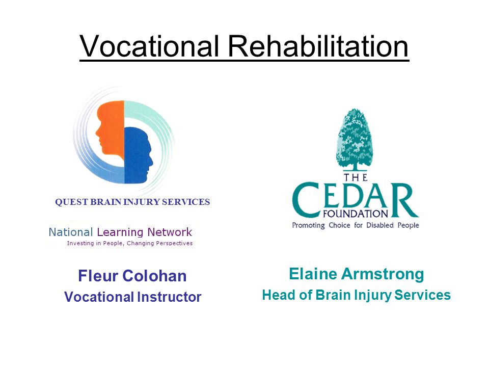 Entry Criteria An acquired or traumatic Brain Injury Be resident within the funding region Aged between 16 – 65 years Permit access to all relevant information Have the ability, motivation and potential to benefit from the programme Be medically stable Be free from alcohol & drugs, which would prevent full participation in the programme Be able to access the centre