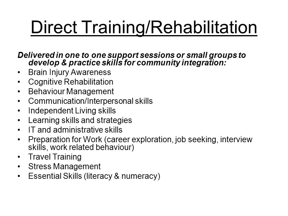 Direct Training/Rehabilitation Delivered in one to one support sessions or small groups to develop & practice skills for community integration: Brain Injury Awareness Cognitive Rehabilitation Behaviour Management Communication/Interpersonal skills Independent Living skills Learning skills and strategies IT and administrative skills Preparation for Work (career exploration, job seeking, interview skills, work related behaviour) Travel Training Stress Management Essential Skills (literacy & numeracy)