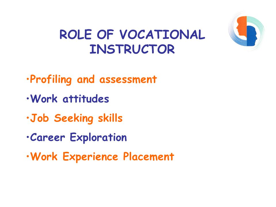 ROLE OF VOCATIONAL INSTRUCTOR Profiling and assessment Work attitudes Job Seeking skills Career Exploration Work Experience Placement