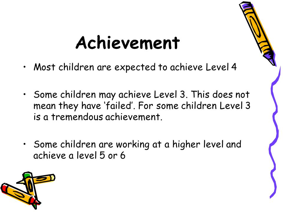 Achievement Most children are expected to achieve Level 4 Some children may achieve Level 3.