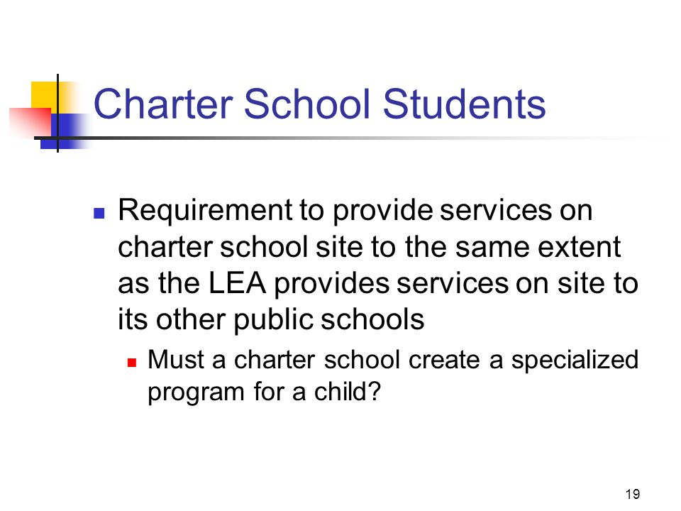 19 Charter School Students Requirement to provide services on charter school site to the same extent as the LEA provides services on site to its other