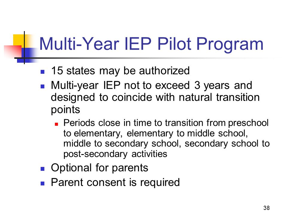 38 Multi-Year IEP Pilot Program 15 states may be authorized Multi-year IEP not to exceed 3 years and designed to coincide with natural transition poin