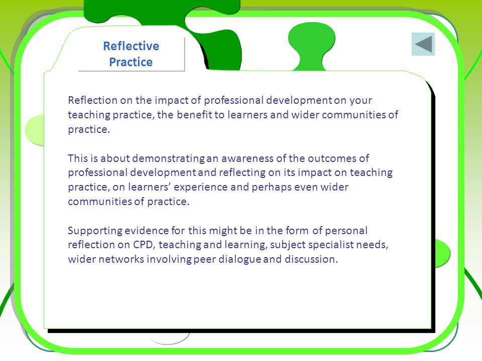 Reflection on the impact of professional development on your teaching practice, the benefit to learners and wider communities of practice. This is abo