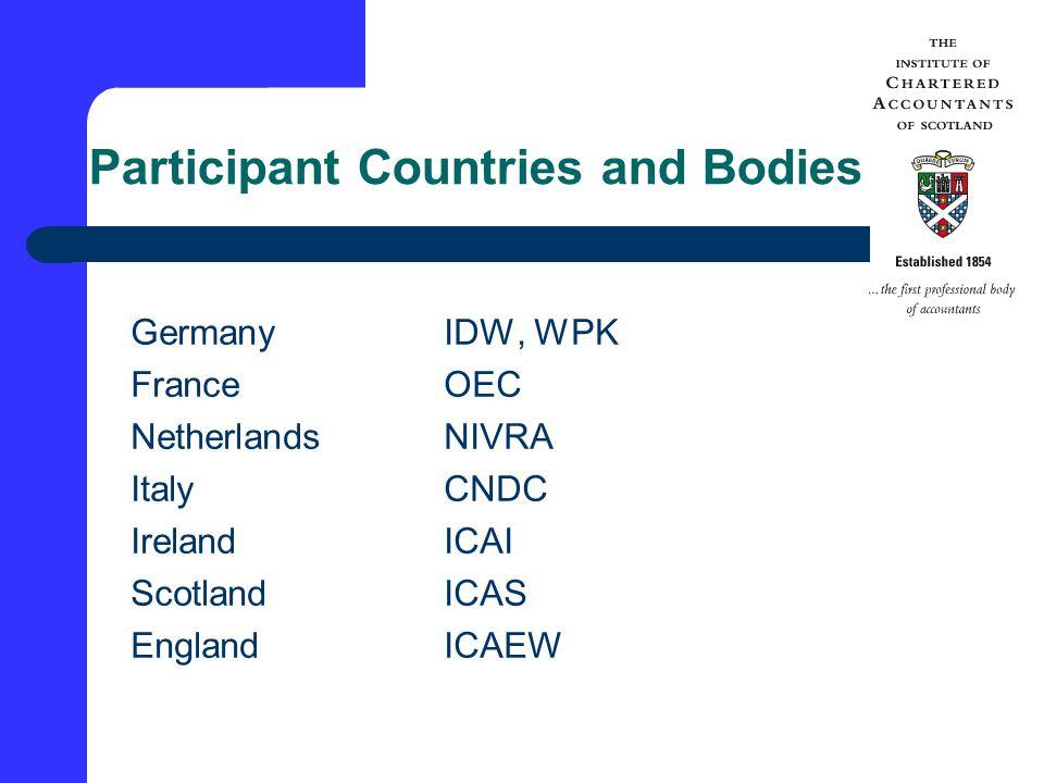 Participant Countries and Bodies GermanyIDW, WPK FranceOEC NetherlandsNIVRA ItalyCNDC IrelandICAI ScotlandICAS EnglandICAEW
