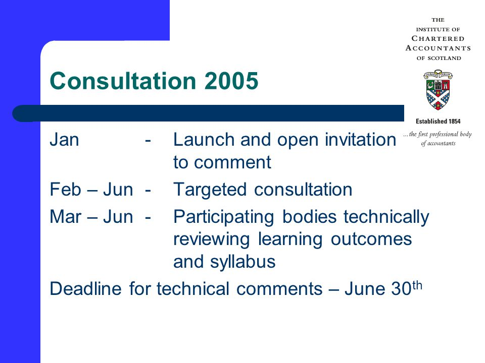 Consultation 2005 Jan-Launch and open invitation to comment Feb – Jun-Targeted consultation Mar – Jun-Participating bodies technically reviewing learning outcomes and syllabus Deadline for technical comments – June 30 th