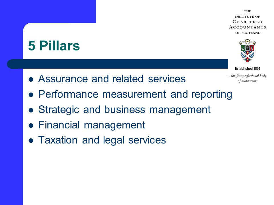 5 Pillars Assurance and related services Performance measurement and reporting Strategic and business management Financial management Taxation and legal services