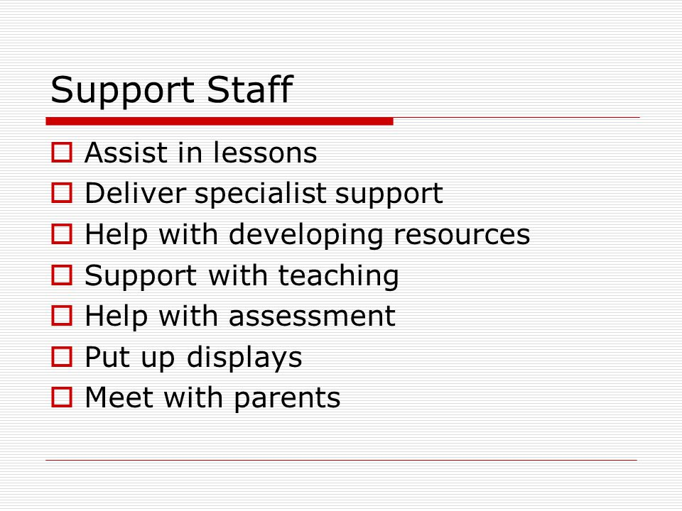 Support Staff  Assist in lessons  Deliver specialist support  Help with developing resources  Support with teaching  Help with assessment  Put up displays  Meet with parents