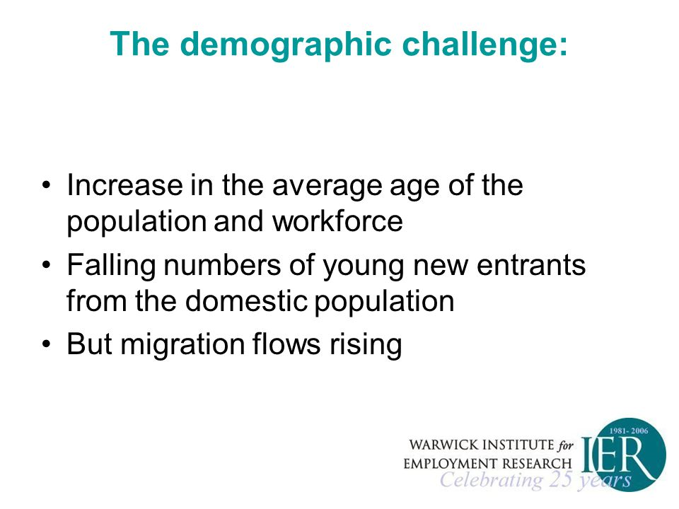 The demographic challenge: Increase in the average age of the population and workforce Falling numbers of young new entrants from the domestic population But migration flows rising