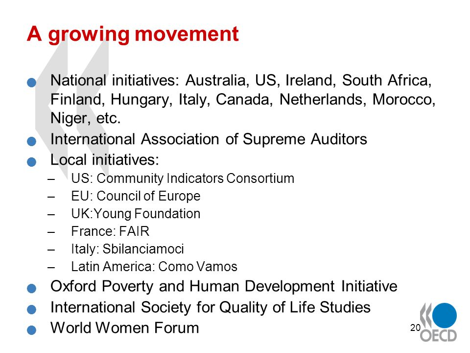 20 A growing movement National initiatives: Australia, US, Ireland, South Africa, Finland, Hungary, Italy, Canada, Netherlands, Morocco, Niger, etc.