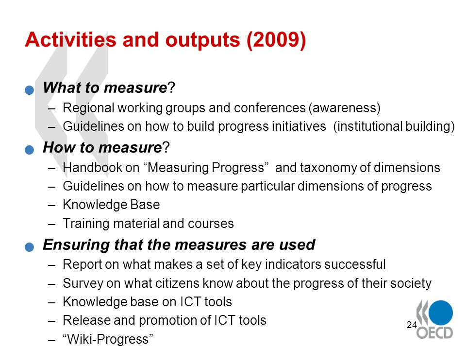 24 Activities and outputs (2009) What to measure.
