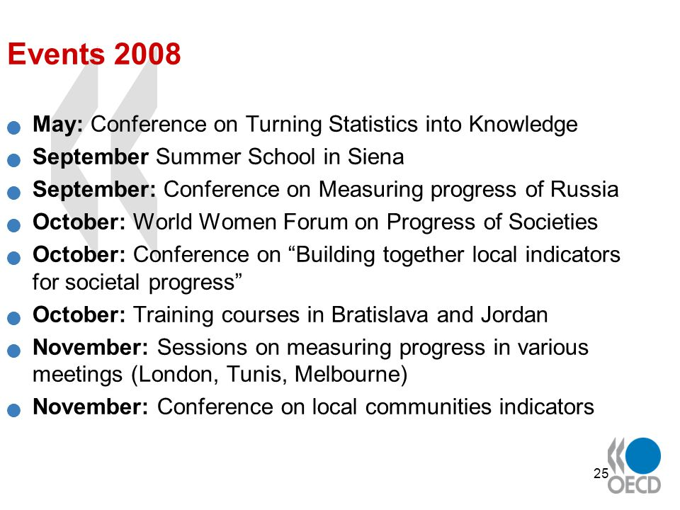 25 Events 2008 May: Conference on Turning Statistics into Knowledge September Summer School in Siena September: Conference on Measuring progress of Russia October: World Women Forum on Progress of Societies October: Conference on Building together local indicators for societal progress October: Training courses in Bratislava and Jordan November: Sessions on measuring progress in various meetings (London, Tunis, Melbourne) November: Conference on local communities indicators