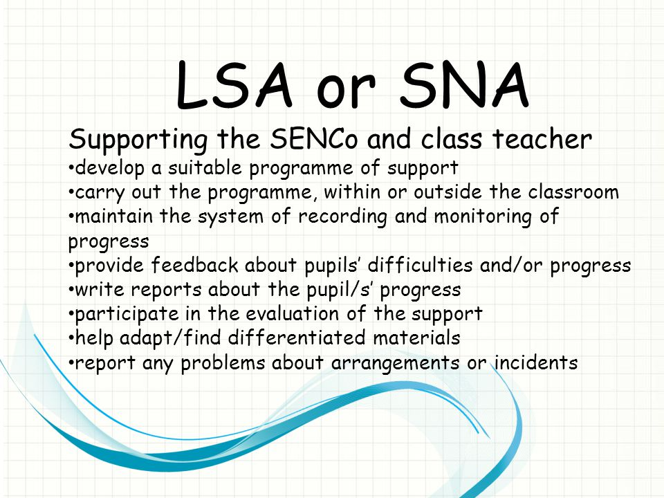 LSA or SNA Supporting the SENCo and class teacher develop a suitable programme of support carry out the programme, within or outside the classroom maintain the system of recording and monitoring of progress provide feedback about pupils' difficulties and/or progress write reports about the pupil/s' progress participate in the evaluation of the support help adapt/find differentiated materials report any problems about arrangements or incidents
