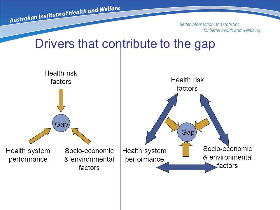 Drivers that contribute to the gap Gap Health risk factors Health system performance Socio-economic & environmental factors Health risk factors Health system performance Socio-economic & environmental factors Gap